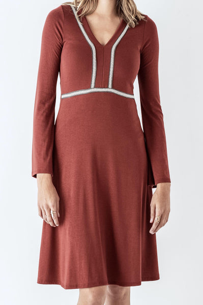 V-Neck Long-sleeved Dress