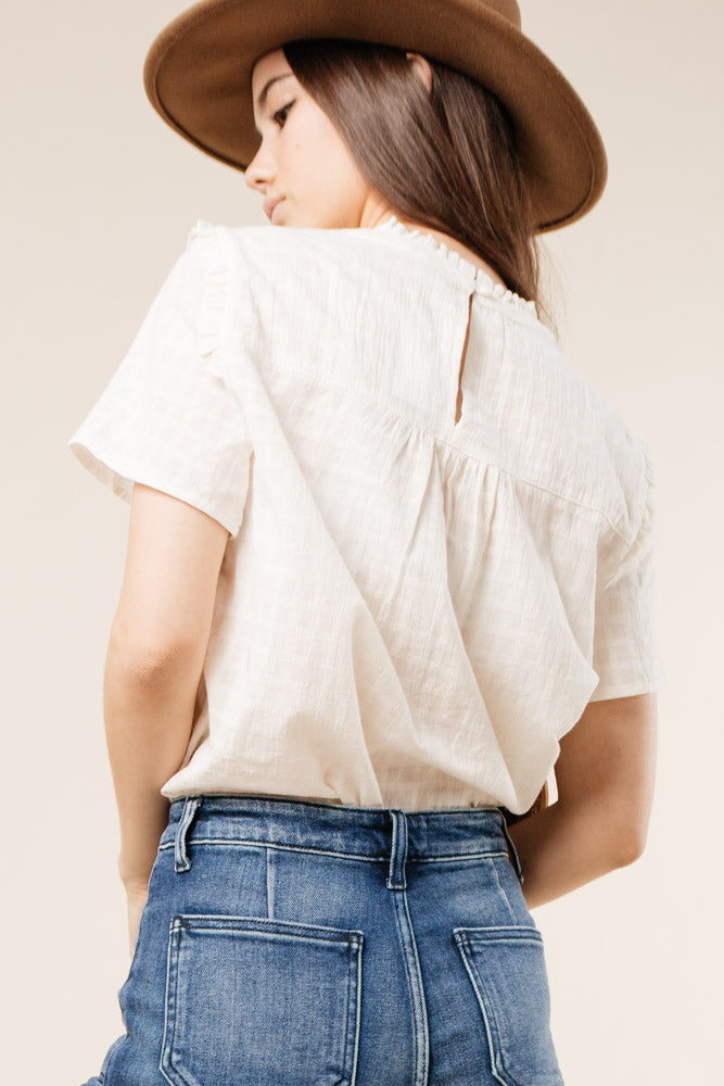 ruffled mock neck Bohme