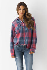 Long Sleeve Snap Button Plaid
