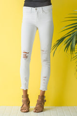White Out Flying Monkey Cropped Skinny Jeans