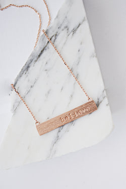 Believe Script Bar Necklace