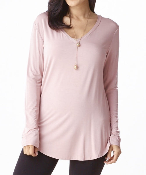 V-Neck Shirtail Hem Tee