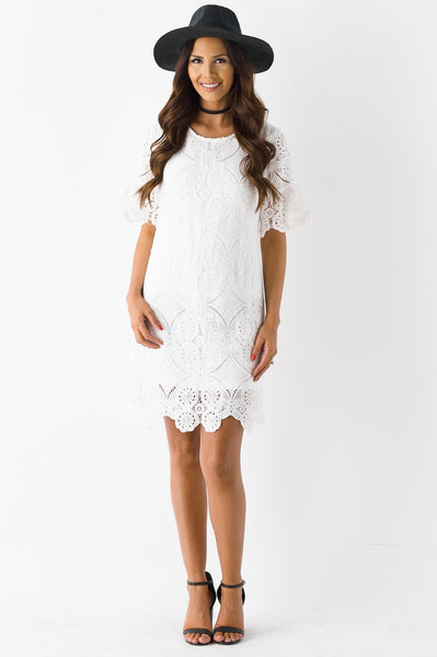 Clouds Of White Blossom Lace Dress