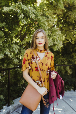 Brought to Life Mustard Floral Print Top