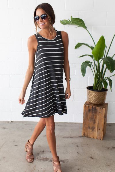 South Beach Striped Swing Dress