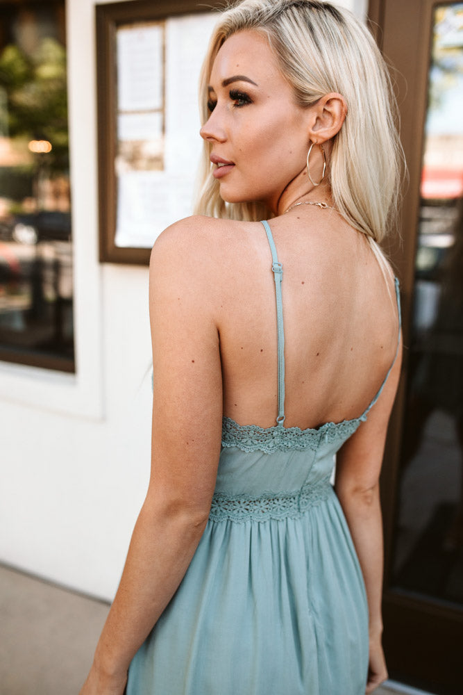 Hailey Lace Halter Dress in Sage