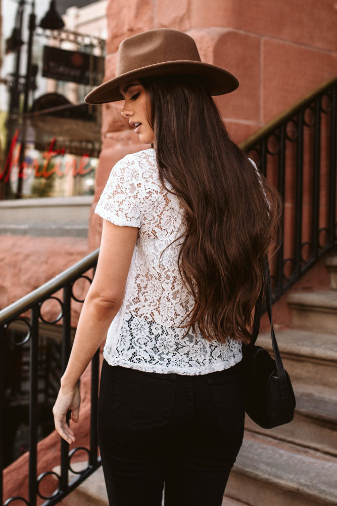 Win the Lace Mock Neck Top in White