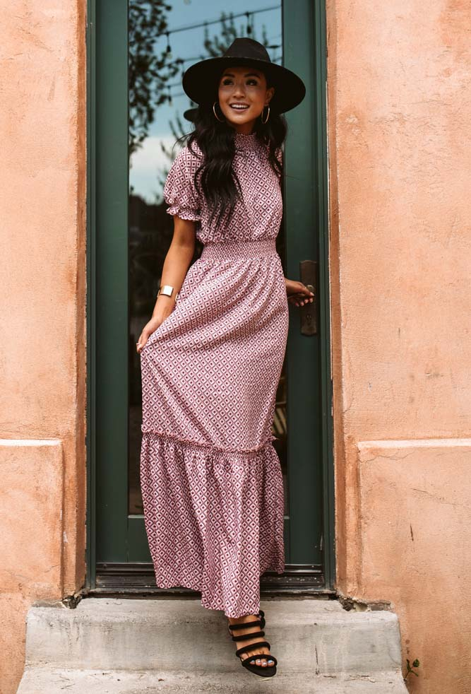 Iva Patterned Mock Neck Maxi Dress