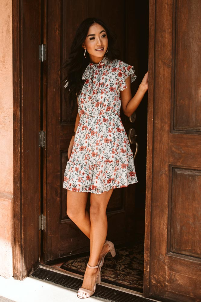 Fiona Tie Collar Floral Dress