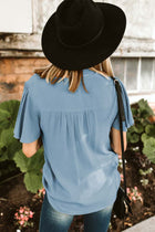 Gracyn Button Down Blouse in Blue