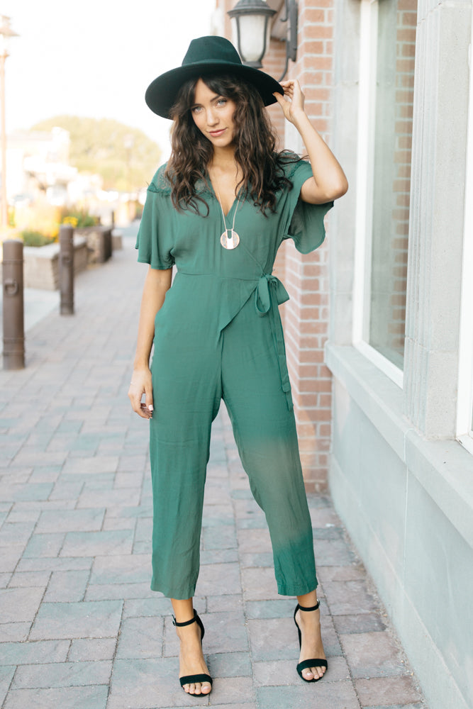 Ansley Lace Sleeve Jumpsuit-FINAL SALE