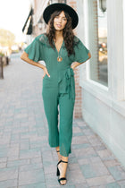 Ansley Lace Sleeve Jumpsuit-FINAL SALE - Bohme