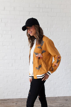 Bolder the Better Embroidered Bomber Jacket
