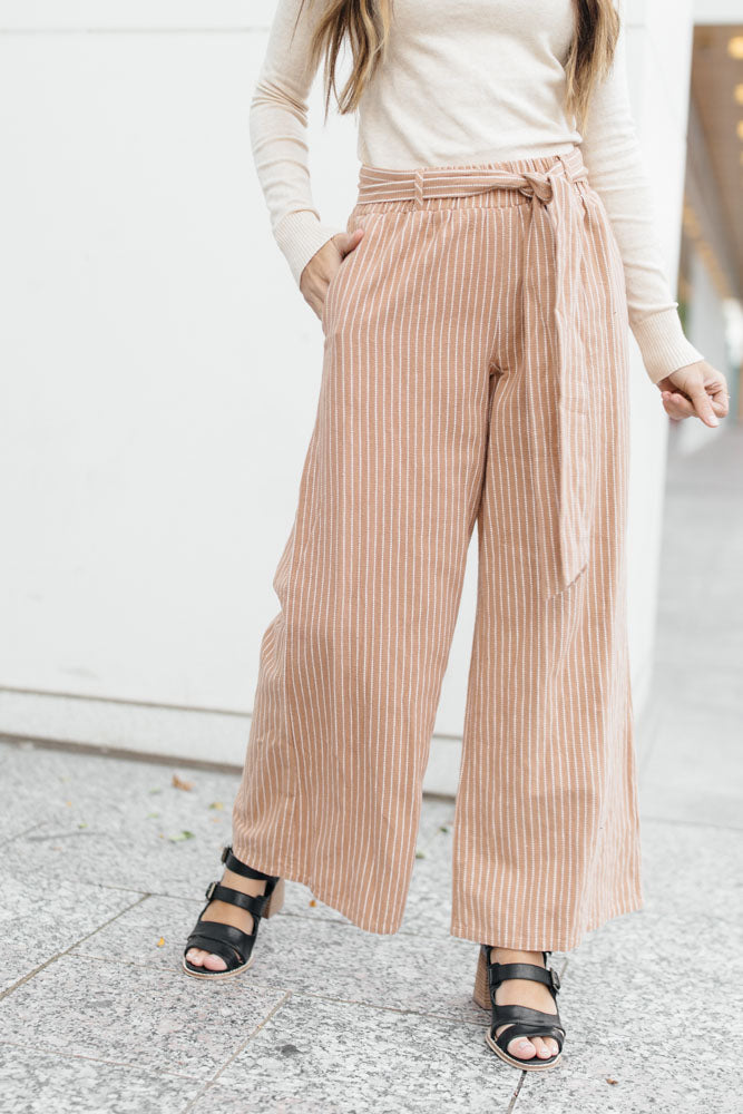 Caramel Stripe Wide Leg Bottoms - Bohme