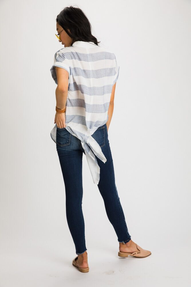 Call Me Back Tie Woven Striped Top