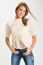 Lady of the House Mock Neck Shirring Top