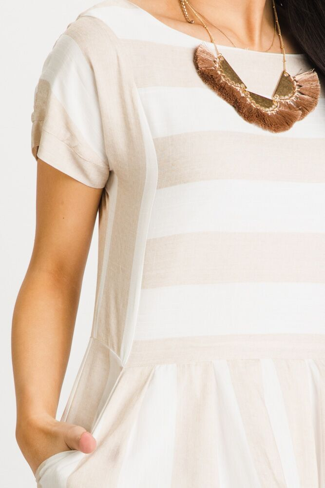 Sarah Striped Pocket Dress in Taupe