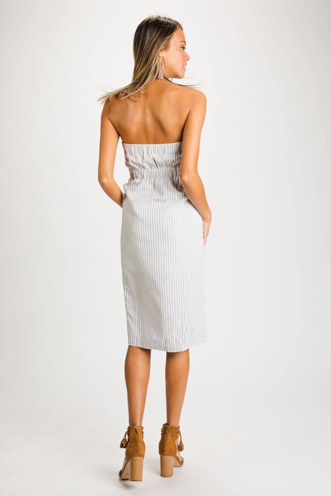 Rylee Striped Button Front Strapless Dress