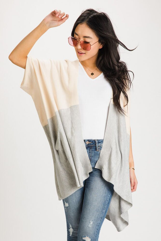 Blush Hour Color Block Knit Cardigan