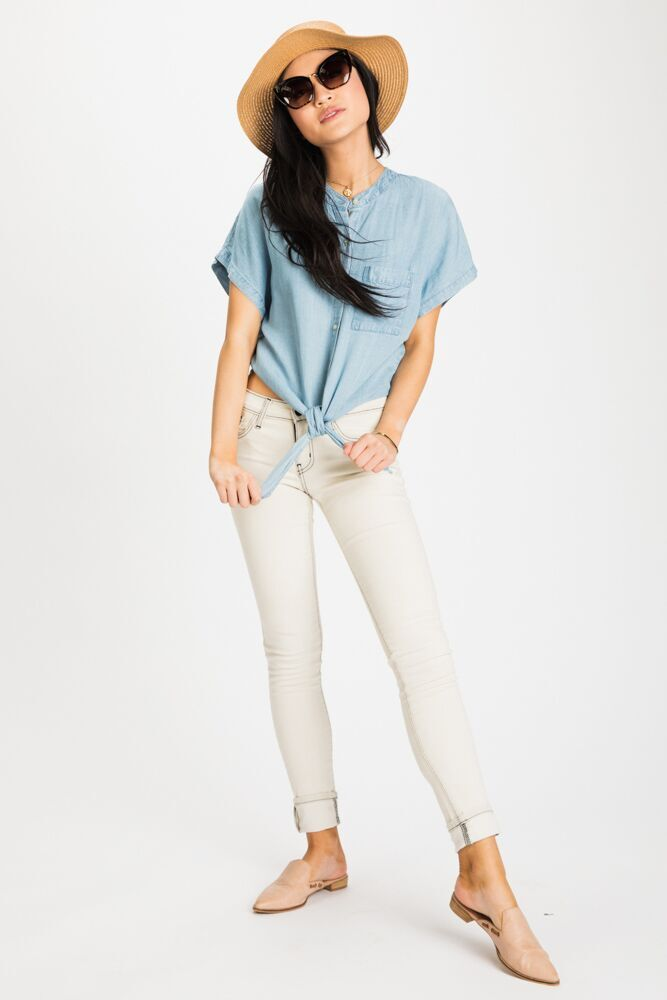 Second Avenue Chambray Tie Top