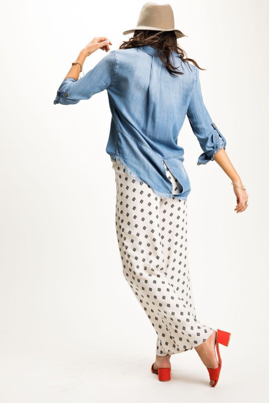 Lady Fray Chambray Button Up Top