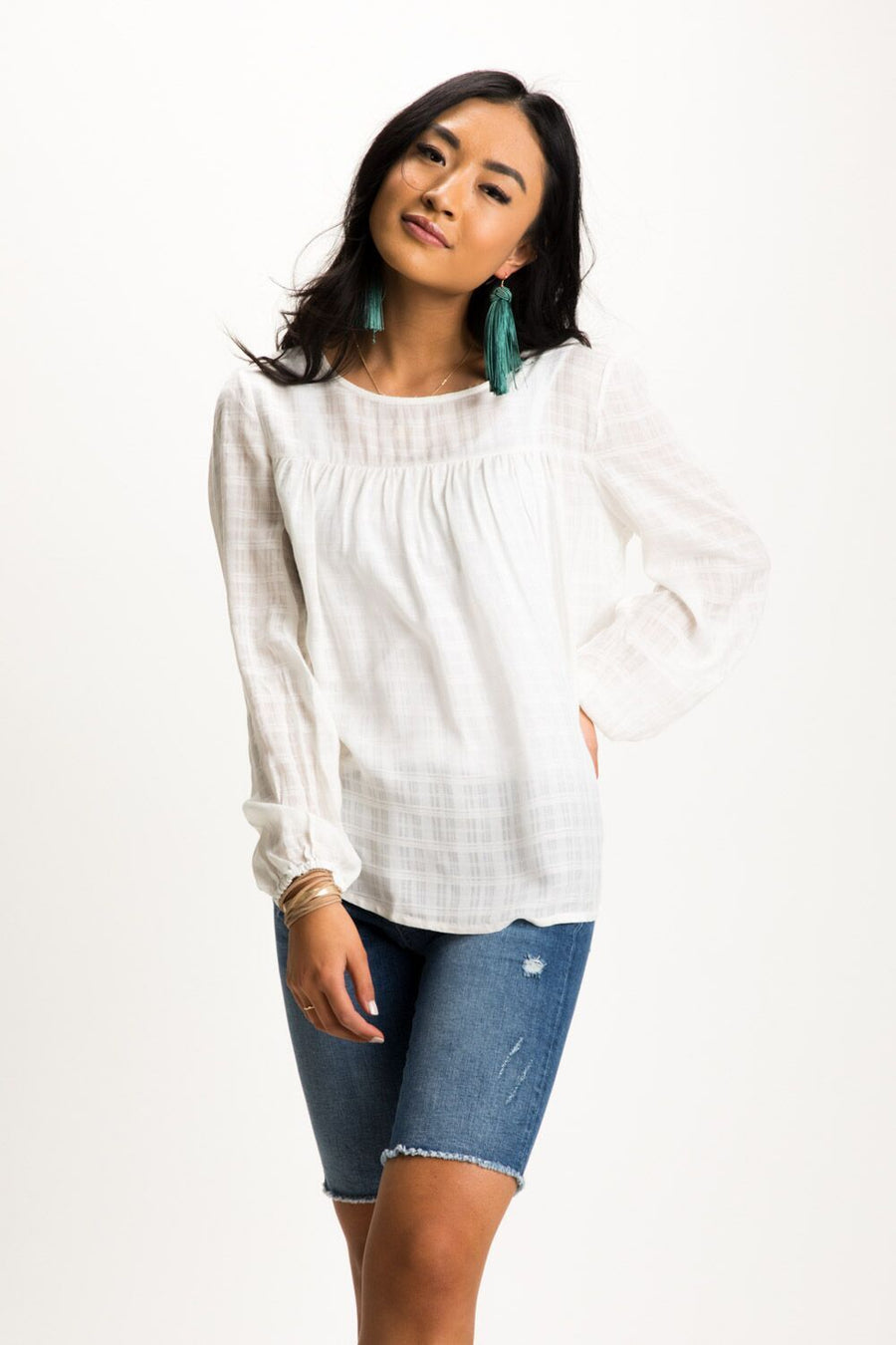 Go With The Flow Textured Gingham Top