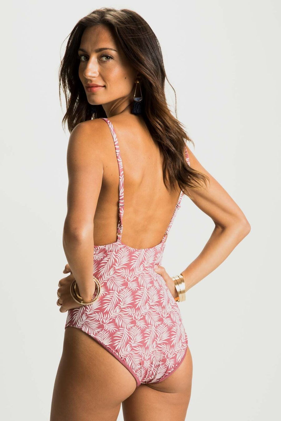 Peachy Keen Fern Print Two Tone One-Piece Swimsuit - Bohme