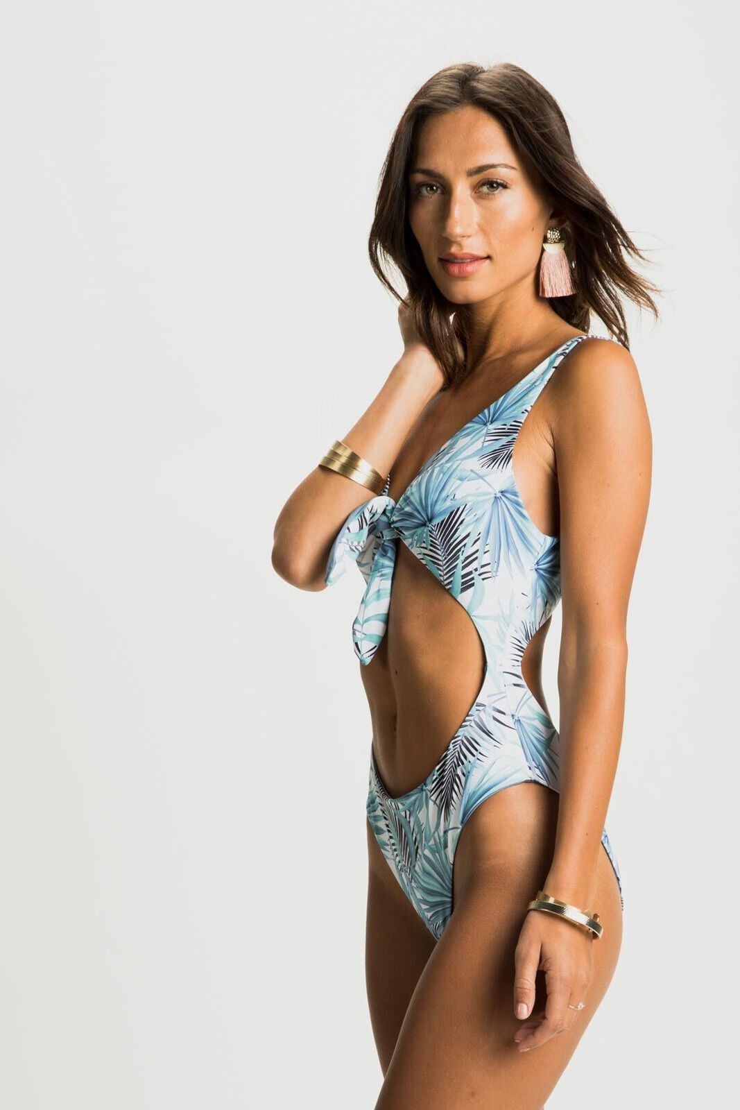 Cabana Baby Palm Print Knotted One-Piece Swimsuit