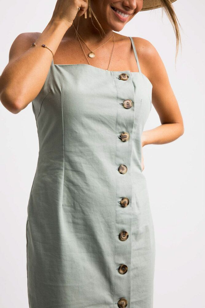 As If Button Down Midi Dress