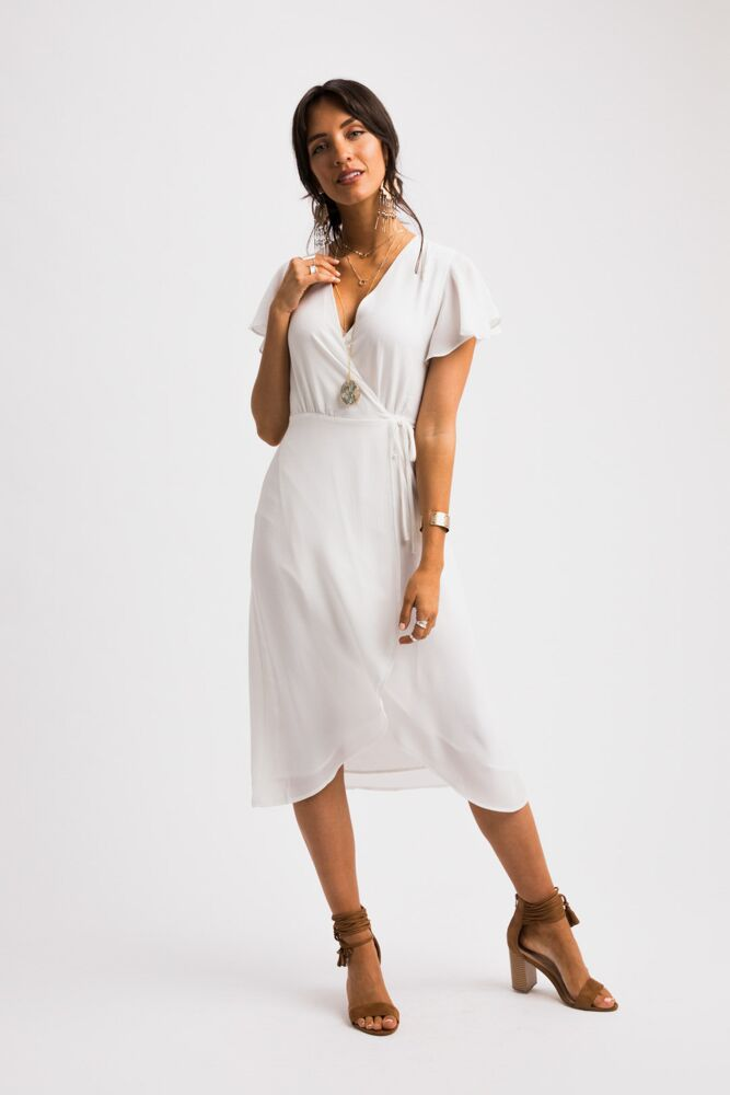 Wrap Me Up White Midi Dress