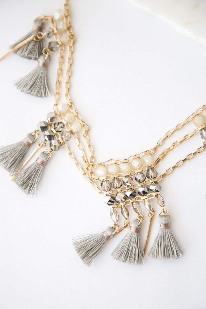 Mixed Media Tassel Beaded Necklace - Bohme