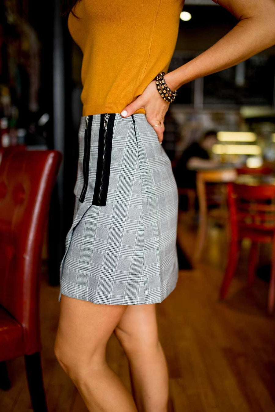 Zipped Up Houndstooth Skirt-FINAL SALE