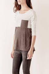 Stripe Suede contrast Top