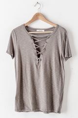 Lace Up Slub Knit Top