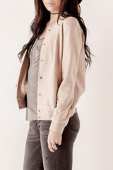Suede Button Up Bomber
