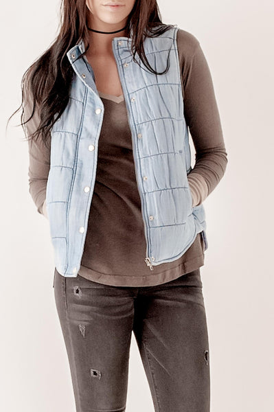 Washed Denim Tencel Vest