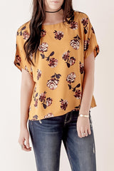 Mustard Floral Woven Top