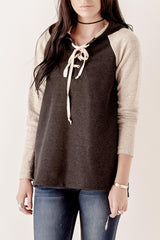 Lace Up Two Tone Hoodie