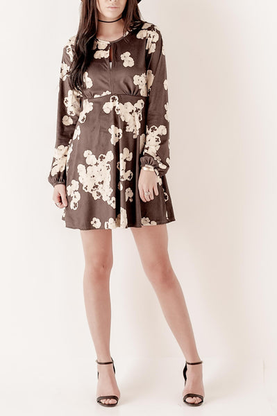 Floral Keyhole Suede Dress