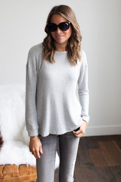 Routine Favorite Grey Faux Sweater