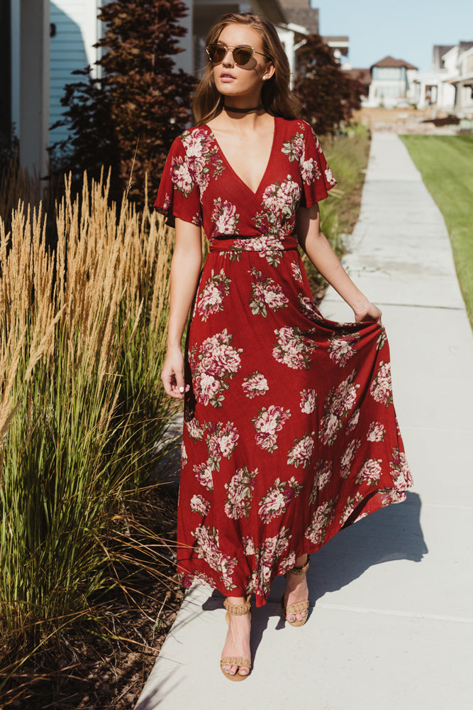 Sweet Pomelo Red Maxi Dress