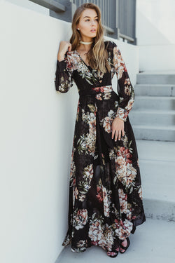 Bold Edges Black Floral Maxi Dress