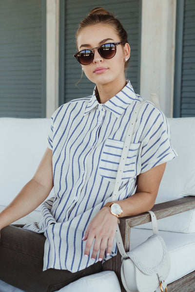 Tire Swing Striped Button Up Top