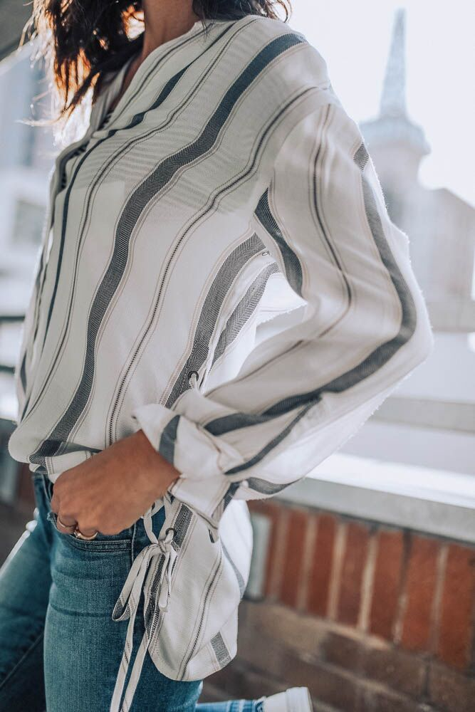 Talk About It Navy Stripe Button Up Top