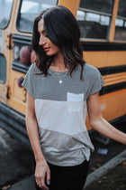 Color Blocking Short Sleeve Top