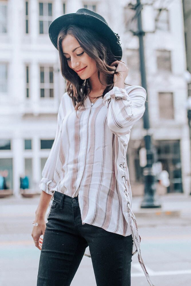Talk About It Mauve Stripe Button Up Top