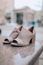 Modern Muse Perforated Peep Toe Heels in Taupe
