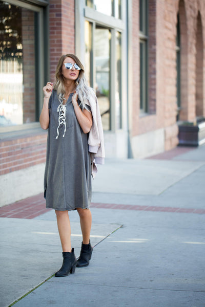 Lace-Up Mineral Wash Dress