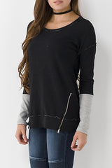 Long Sleeve Distressed Top