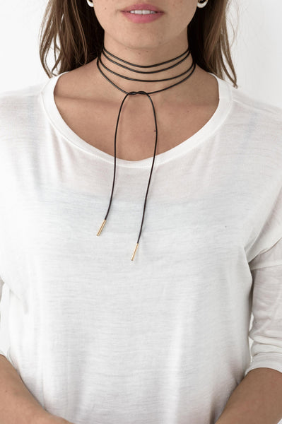 Leather Cord Wrap Choker